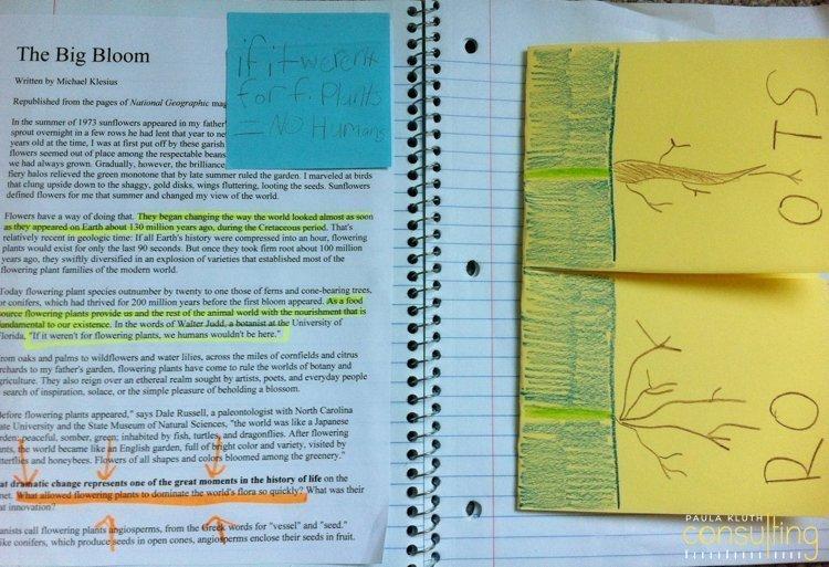 Sticky note notebook differentiation idea